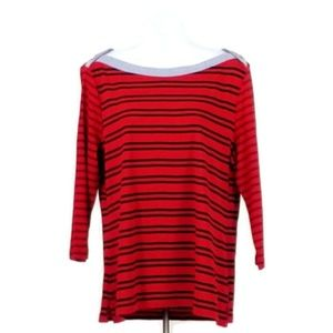 Tommy Hilfiger Tops - Tommy Hilfiger Red Blue Stripe 3/4 Sleeve Top XL